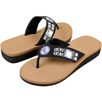 Philadelphia 76ers Ladies Jewel Flip Flop Wedge Flip Flops - Black/Tan