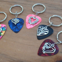 Hearts Key Chain, Guitar Pick Keychain, Choice Heart 16 Colors, Travel Airline Split Key Ring
