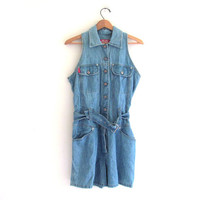Vintage blue jean romper shorts dress / size M