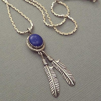 Vintage NATIVE American Indian Necklace, Navajo Sterling Jewelry, LAPIS Lazuli Gemstone, Feather Leaf Charms 925 Chain, Christmas Gift Her