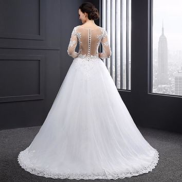 New Arrival A Line Scoop Neck Tulle Long Wedding Dresses Appliques Beading Button Long Sleeves Wedding Gowns