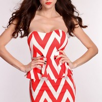 Coral White Chevron Print Sexy Peplum Dress