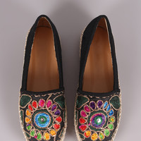 Embroidery Linen Espadrille Slip-On Flat