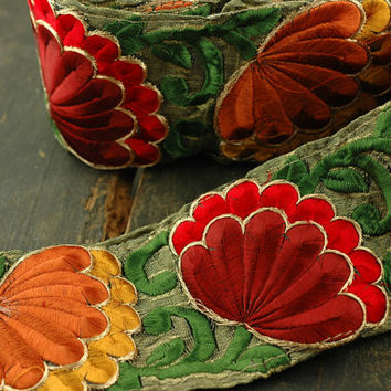"Autumn Flower Fan Festive Floral, Red, Orange, Yellow Green, Silk Trim, Ribbon, Sari Border, India 3""x1 Yard /Holiday Craft, Sewing Supplies"