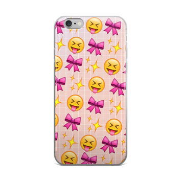 Glowing Stars Tongue Out Bow Emoji Collage Cute Girly Girls Pink iPhone 4 4s 5 5s 5C 6 6s 6 Plus 6s Plus 7 & 7 Plus Case