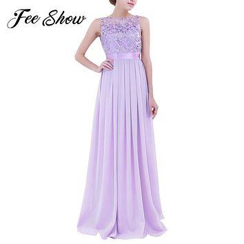 2017 Fashion Women Ladies Chiffon Embroidered Dress Sleeveless Long Evening Prom Gown Hot Womens Wedding Chiffon Long Maxi Dress