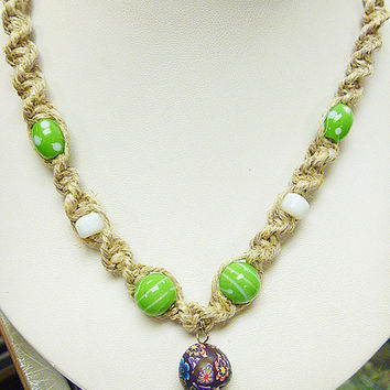 Touch of Green Fimo Glass Mushroom Hemp Necklace   handmade macrame jewelry hippie