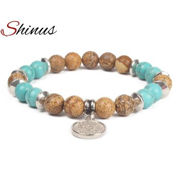 Shinus Charms Bracelet Women Chakra Bracelets Man Jewelry Healing Mala Beaded Natural Stone Meditation Pulseira Fashion Gifts