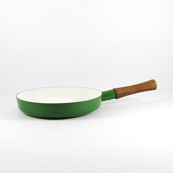 "Vintage Dansk Kobenstyle Kelly Green Enamel 10"" Skillet Pan, Frying Pan, Mid-Century Modern Kitchen, Danish Modern, Teak Handle"