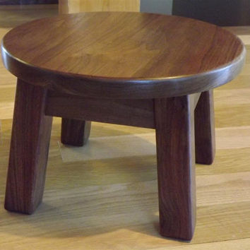 "Reclaimed wood/ round stool/ step stool/ black walnut/ mission style/ farmhouse/ 8""- 10"" H"