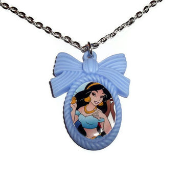 Jasmine Necklace, Disney Princess, Aladdin, Blue Cute Cameo Necklace