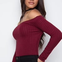 Cravings Ribbed Bodysuit - Burgundy