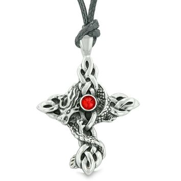 Fire Dragon Protection Celtic Knot Cross Power Magic Amulet Royal Red Crystal Pendant Necklace