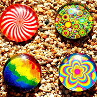 NOOSA CHARM BUTTON Psicodelia For  Interchangeable Button Jewelry. Snap On Button. The Price Is For One Unit.