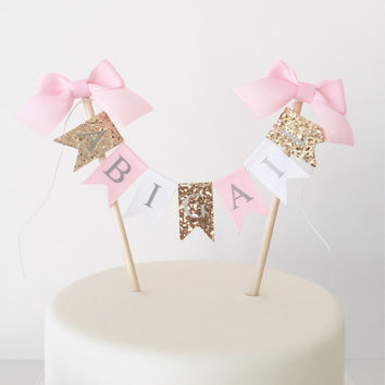 Cake Smash Photo Prop Set Cake Banner Birthday Hat - Gold Pink White