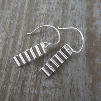 Washboard Earrings, Medium Long Silver Earrings, Corrugated Silver Earrings