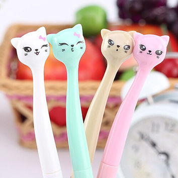 1 pcs lot Cute Cartoon Cat Gel Pen Kawaii Stationery Pens Material Escolar Office School Supplies Office Supplies