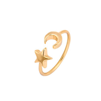 New Fashion Gold Silver and Rose Gold Plated Adjustable Crescent Moon and Tiny Star Rings for Women -0411