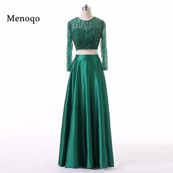 Green Long Sleeve Two Pieces Prom Dresses 2017 A-Line Beading Sequins Robe De Soiree Special Occasion Evening Gowns Custom Made