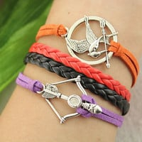 hunger games bracelet-- Mockingjay&arrow pendant,retro silver charm bracelet,red black braid leather bracelet