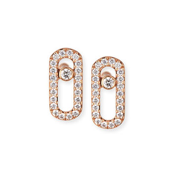 Messika Move Uno Pavé Diamond Earrings in 18K Rose Gold