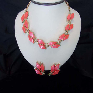 Coro Designer Signed Thermoset Plastic Coral Orange Leaf Flower Necklace Earrings Gold Plate Set