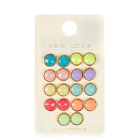 9 Pack Large Multicoloured Stud Earrings