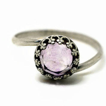Purple Fluorite Ring, Sterling Silver Ring, Purple Gemstone Ring, Handforged Silver Cocktail Ring