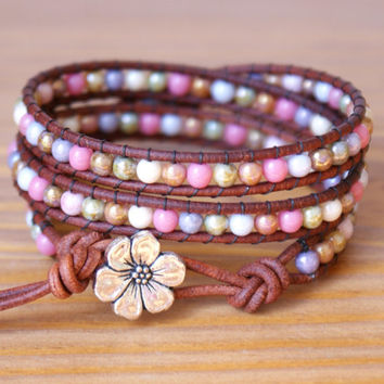 Purple Pink Brown Boho beaded leather wrap bracelet, triple wrap, bohemian, pink, green, purple, brown, cream, romantic, gift idea, hipster