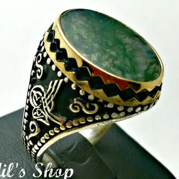 Men's Ring, Turkish Ottoman Style Jewelry, 925 Sterling Silver, Authentic Gift, Traditional, Handmade, With Moss Agate, US Size 12, New