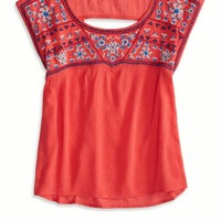 's Gauzy Embroidered T-shirt (Sedona Red)