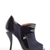 Fendi Denim & Patent Leather Peep Toe Blue And Black Boots 19% off retail