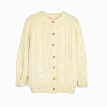 Vintage Cream Fisherman Cardigan / Cable Knit Sweater