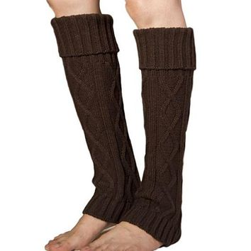 [16412] Diamond Cable Knit Pattern Leg Warmer
