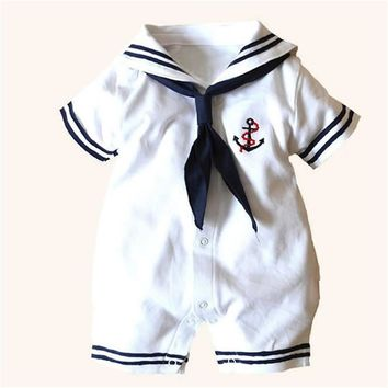 Sailor style Toddler Baby Boy Girls Clothes Cotton Short sleeve Newborn Romper Infant Clothing Outfits Set