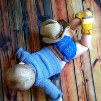 Crocheted Cowboy Jean Look Diaper Cover