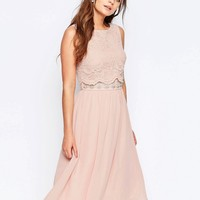Elise Ryan Skater Dress With Scallop Lace Overlay