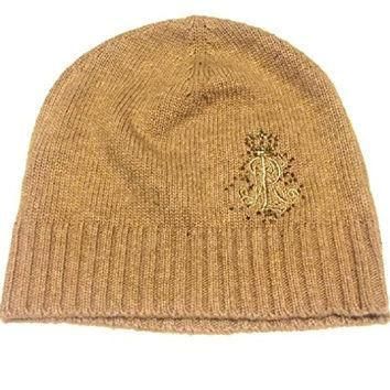 RALPH LAUREN KNIT HAT BEANIE WOMEN'S BEIGE SEQUIN ONE SIZE