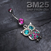 Sparkling Owl Dangle Belly Button Navel Ring NEW Fashion Steel Body Jewelry