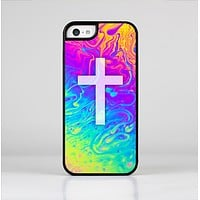 The Vector White Cross v2 over Neon Color Fushion V2 Skin-Sert Case for the Apple iPhone 5c