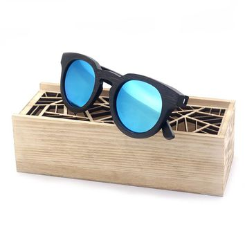 BOBO BIRD Brand Designer Simple Sunglasses Women And Men Best Gift Handmade Polarized Sun Glasses With Bule Lens Wooden Box 2017