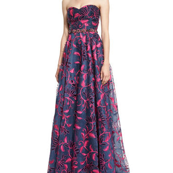 Marchesa Notte Strapless Sweetheart Floral Embroidered Ball Gown, Navy