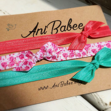 Tie knot bow baby headband, pink bow baby headband, baby headband set, shabby chic, girls headband, teen, womens, infant headband