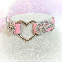 BDSM Daddys Girl Choker Necklace Pink Faux Leather Heart Rhinestone Bling Kitten Play Collar pastel goth Lolita Neko Cat DDLG Luxury
