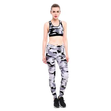 New 2018 Women's Work Out Suits Camouflage 3D Print Sexy Push Up Leggings Two Piece Set Fitness Clothing Tank Top Suits