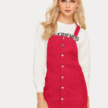 Button Through Corduroy Pinafore Dress
