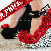 Red Floral Rhinestone Studded Spike Wedge Shoes
