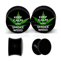 Vintage keed Calm and smoke weed ear plugs ,vintage ear gauges ,UV acrylic ear plugs,wedding plugs,pretty ear gauges