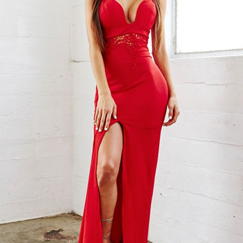 Red Lace Panel Long Dress