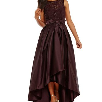 Ignite Evenings Belted Lace Mikado Hi-Low Dress | Dillards